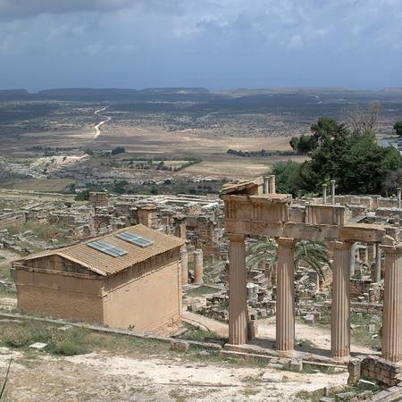 Cirene, Libya - May 13, 2002: Ancients ruins in Cirene