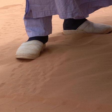 Ubari Desert, Libya - May 04, 2002 : Tuareg feet