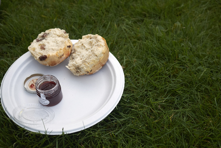 Scone with jam and butter Stock Photo