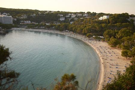 Minorca, Balearic Islands, Spain - September 05, 2013 : View of Cala Galdana from above, Minorca Stock Photo