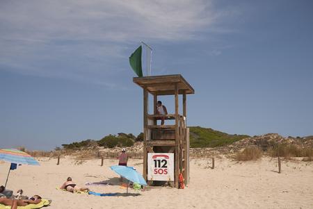 Minorca, Balearic Islands, Spain - September 04, 2013 : Life guard in Son Bou, Minorca