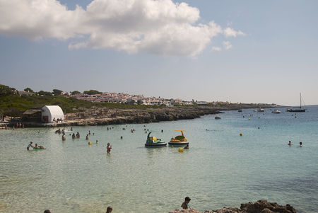 Minorca, Balearic Islands, Spain - September 06, 2013 : Tourists in Torret, Minorca