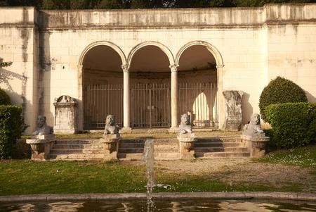 Rome, Italy - April 04, 2014 : Portico dei Leoni building