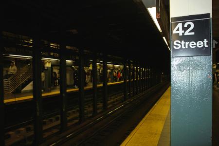 New York, United States - October 04, 2008: 42nd Street underground station  Editorial
