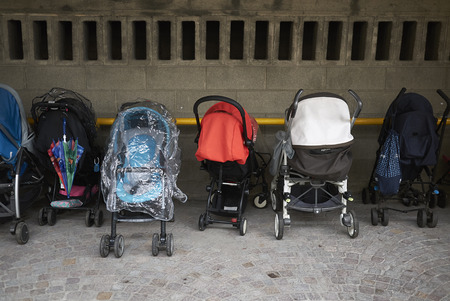 Milan, Italy - March 07, 2018:  Children strollers Editöryel