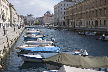 Trieste, Italy - March 19, 2018 : View of Canal Grande in Trieste