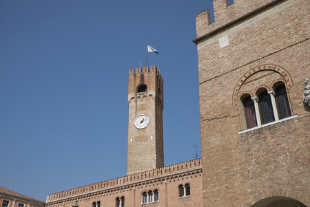 Treviso, Italy: View of Palazzo dei Trecento and Torre Civica