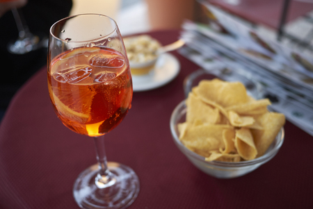 Spritz cocktail with chips