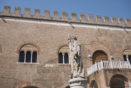 Treviso, Italy: View of Palazzo dei Trecento and the Teresona statue