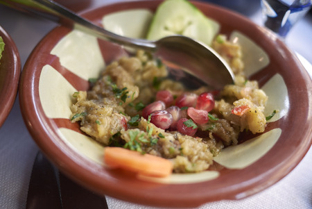 Mutabbal dip with pomegranate