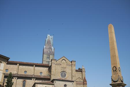 Firenze, Italy - June 21, 2018 : View of Santa Maria Novella church and the obelisk in Unita Italiana square (PIazza dell unita italiana)