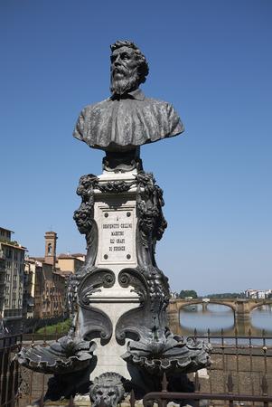 Firenze, Italy - June 21, 2018 : View of Benvenuto Cellini bust in Ponte Vecchio