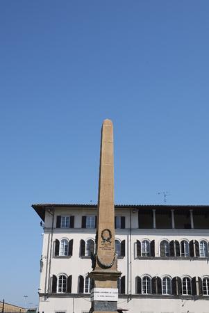 Firenze, Italy - June 21, 2018 : Obelisk in Unita Italiana square (PIazza dell unita italiana) Editorial