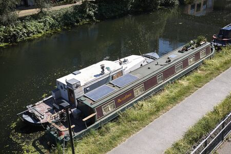 London, United Kingdom - June 25, 2018: View of River Lee on Hackney wick 報道画像