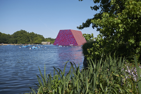 London, United Kingdom - June 26, 2018 : The London Mastaba by Christo in Serpentine lake