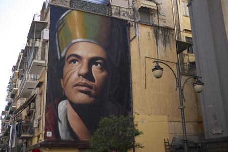 Naples, Italy - July 24, 2018 : San Gennaro Saint Januarius) in Forcella district Stok Fotoğraf - 107544146