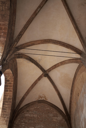 Cefalu, Italy - September 09, 2018: Details of the Cathedral of Cefalu entrance ceiling