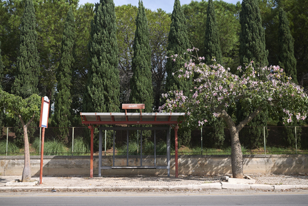 Modello, Italy - September 10, 2018 : Bus stop Olimpo on the road to Mondello