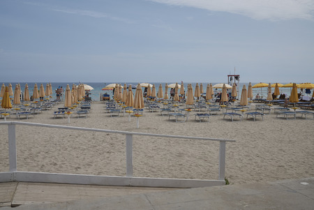 Modello, Italy - September 10, 2018 : View of the beach club changing rooms in Mondello