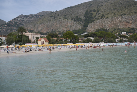 Modello, Italy - September 10, 2018 : View of Mondello beach