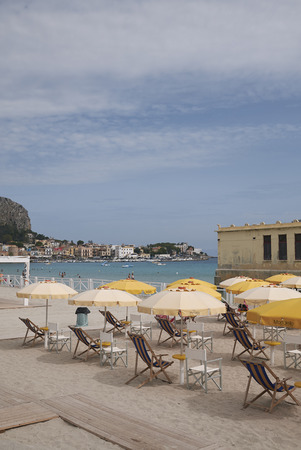 Modello, Italy - September 10, 2018 : Beach of the antico stabilimento balneare of Mondello Editorial