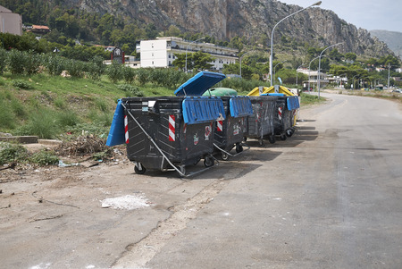 Mondello, Italy - September 10, 2018 : Garbage bins in Mondello
