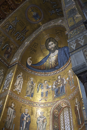 Monreale, Italy - September 11, 2018 : View of Monreale cathedral apse Redakční