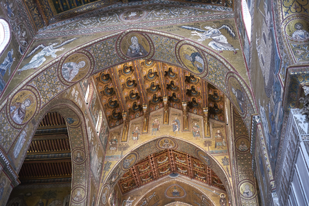 Monreale, Italy - September 11, 2018 : View of Monreale cathedral ceiling