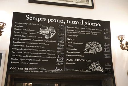 Palermo, Italy - September 08, 2018 : Menu of Antica Focacceria San Francesco