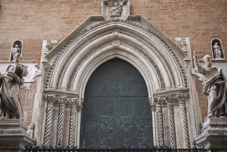 Palermo, Italy - September 07, 2018 : View of the main facade of Palermo cathedral