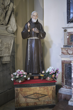 Palermo, Italy - September 07, 2018 : Padre Pio statue at Church of Saint Dominic Editorial