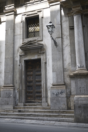 Palermo, Italy - September 07, 2018 : Entrance of San Matteo al Cassaro church Zdjęcie Seryjne