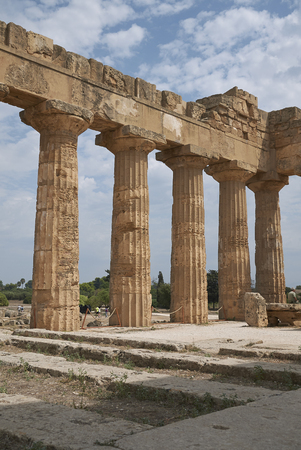 Selinunte, Italy - September 02, 2018: View of the Temple of Hera (Temple E) Stock Photo