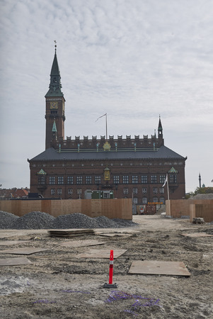 Copenhagen, Denmark - October 09, 2018 : View of Copenhagen city hall and City Hall Square under renovation