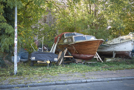 Copenhagen, Denmark - October 10, 2018 : View of boats parked in Christiania