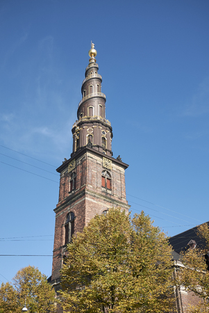 Copenhagen, Denmark - October 10, 2018 : View of Vor Frelsers kirke spire (our saviour church)
