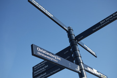 Copenhagen, Denmark - October 10, 2018: Touristic directions in Copenhagen
