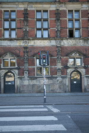 Copenhagen, Denmark - October 10, 2018: Traffic light near Børsen building