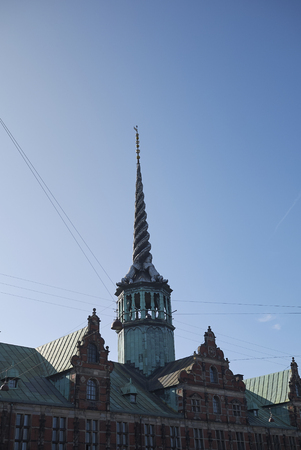 Copenhagen, Denmark - October 10, 2018: View of the Børsen spire