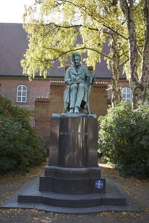 Copenhagen, Denmark - October 10, 2018:View of Søren Kierkegaard sculpture in the Biblioteks Have