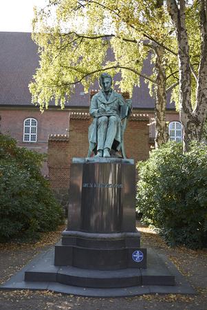 Copenhagen, Denmark - October 10, 2018:View of Søren Kierkegaard sculpture in the Biblioteks Have