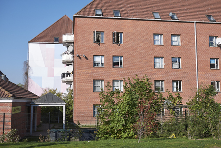 Copenhagen, Denmark - October 11, 2018 : View of buildings in Superkilen park