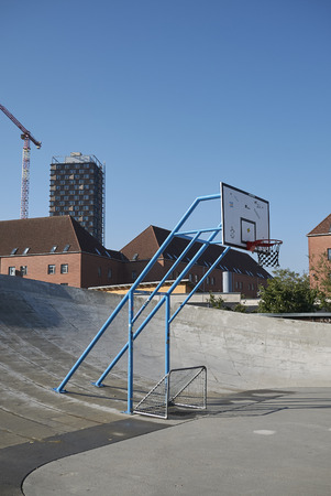 Copenhagen, Denmark - October 11, 2018 : View of a basketball playground in Superkilen park Editorial