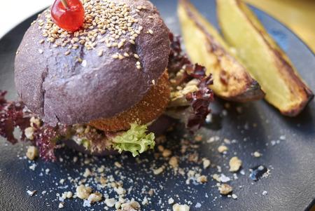Vegetarian burger with potatoes Stock Photo