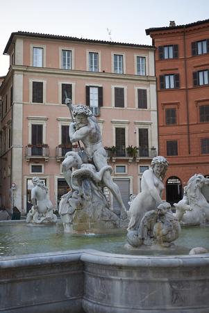 Roma, Italy - February 05, 2019 : View of Fontana del Moro Editorial