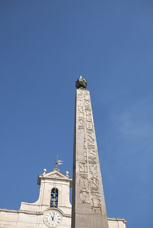 Roma, Italy - February 09, 2019 : View of the Montecitorio obelisk and Palazzo Montecitorio on the background