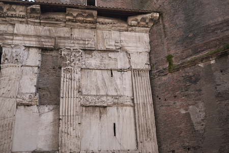 Roma, Italy - February 09, 2019 : Details of the Pantheon west side