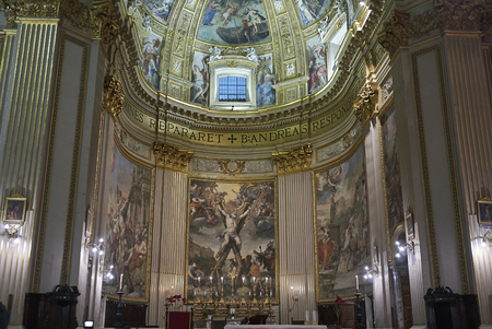 Roma, Italy - February 05, 2019 : View of the main altar of Saint Andrew Basilica, called Sant Andrea della Valle