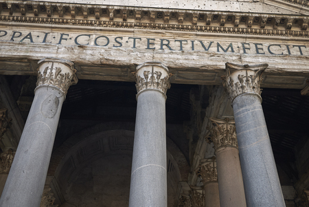 Roma, Italy - February 09, 2019 : Detail of the Pantheon portico