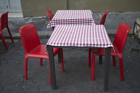 Roma, Italy - February 05, 2019 : Restaurant tables Editorial